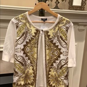 Talbots silk paisley open front cardigan NWOT